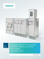 Switchgear Type 8DJH 36 for Secondary Distribution Distribution Systems up to 36 kV, Gas-Insulated