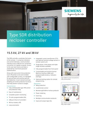 Type SDR distribution recloser controller