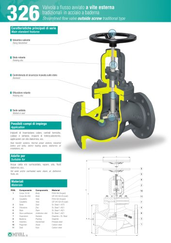 326 Streamlined flow valve outside screw traditional type