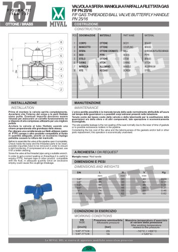 F/F gas threaded ball valve butterfly handle PN25/16