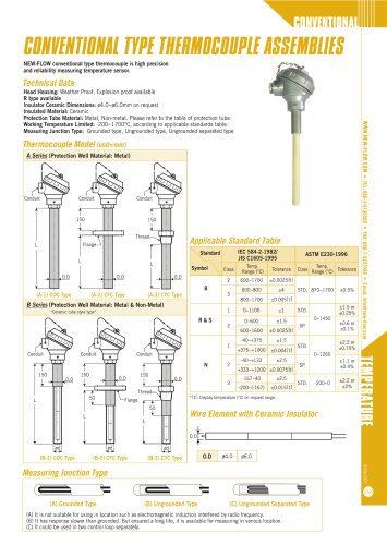 conventional type thermocouple assemblies