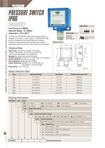 PS2000W(Pressure switch)