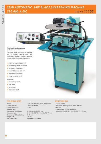 CIRCULAR SAW SHARPENING MACHINE SSG 600-A DC