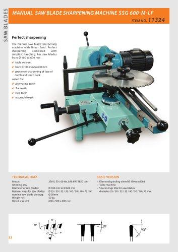 CIRCULAR SAW SHARPENING MACHINE SSG 600 MANUAL
