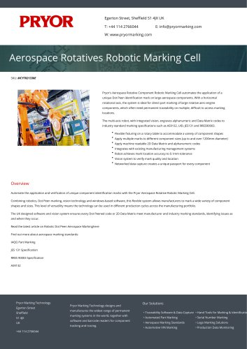 Aerospace Rotatives Robotic Marking Cell