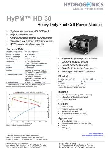 HyPM HD 30 - Hydrogenics - PDF Catalogs | Technical