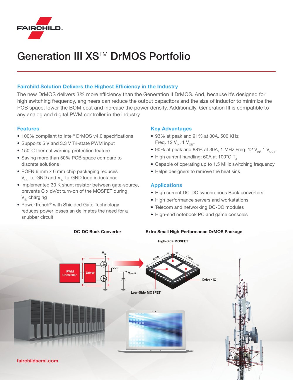 High Power Buck Converter Dc Extra Small Performance Drmos Package Generation Iii Xs Tm Portfolio 1 2 Pages
