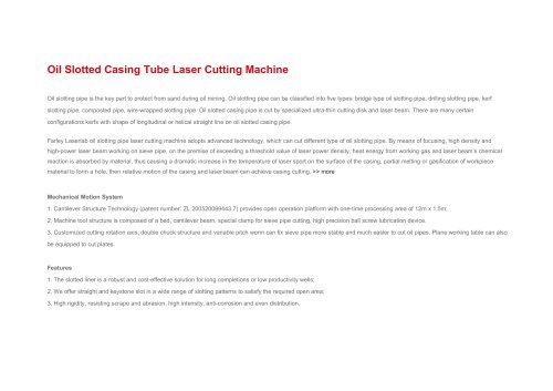 Oil Slotted Casing Tube Laser Cutting Machine