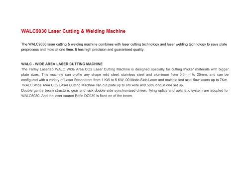 WALC Large Area CO2 Laser Cutting