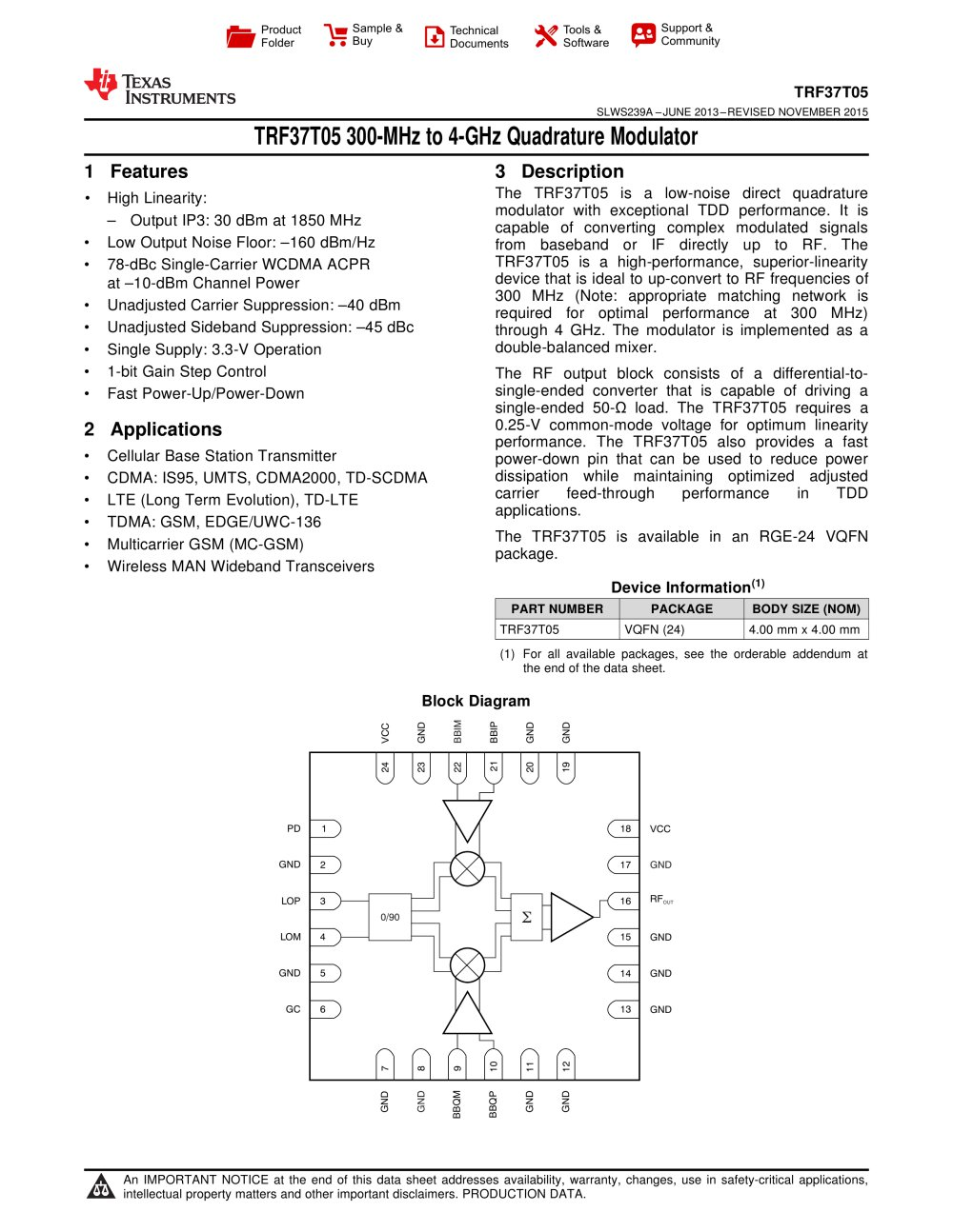 Trf37t05 300 Mhz To 4 Ghz Quadrature Modulator Rev A Texas I Q Block Diagram 1 40 Pages