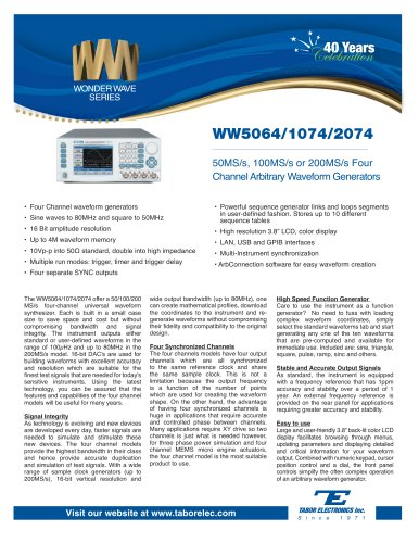 Model WW5064/1074/2074  50MS/s, 100MS/s or 200MS/s Four-Channel Arbitrary Waveform Generator