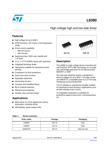 L6390 High-voltage high and low side driver