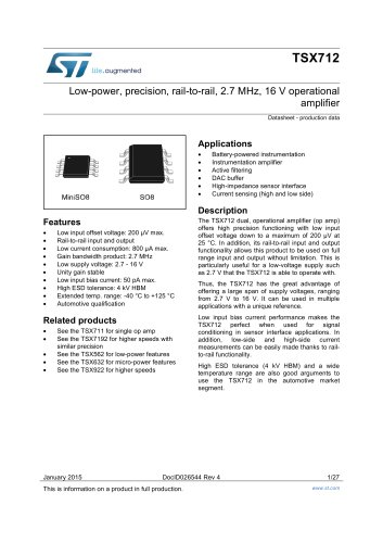 TSX712 Low-power, precision, rail-to-rail, 2.7 MHz, 16 V operational amplifier