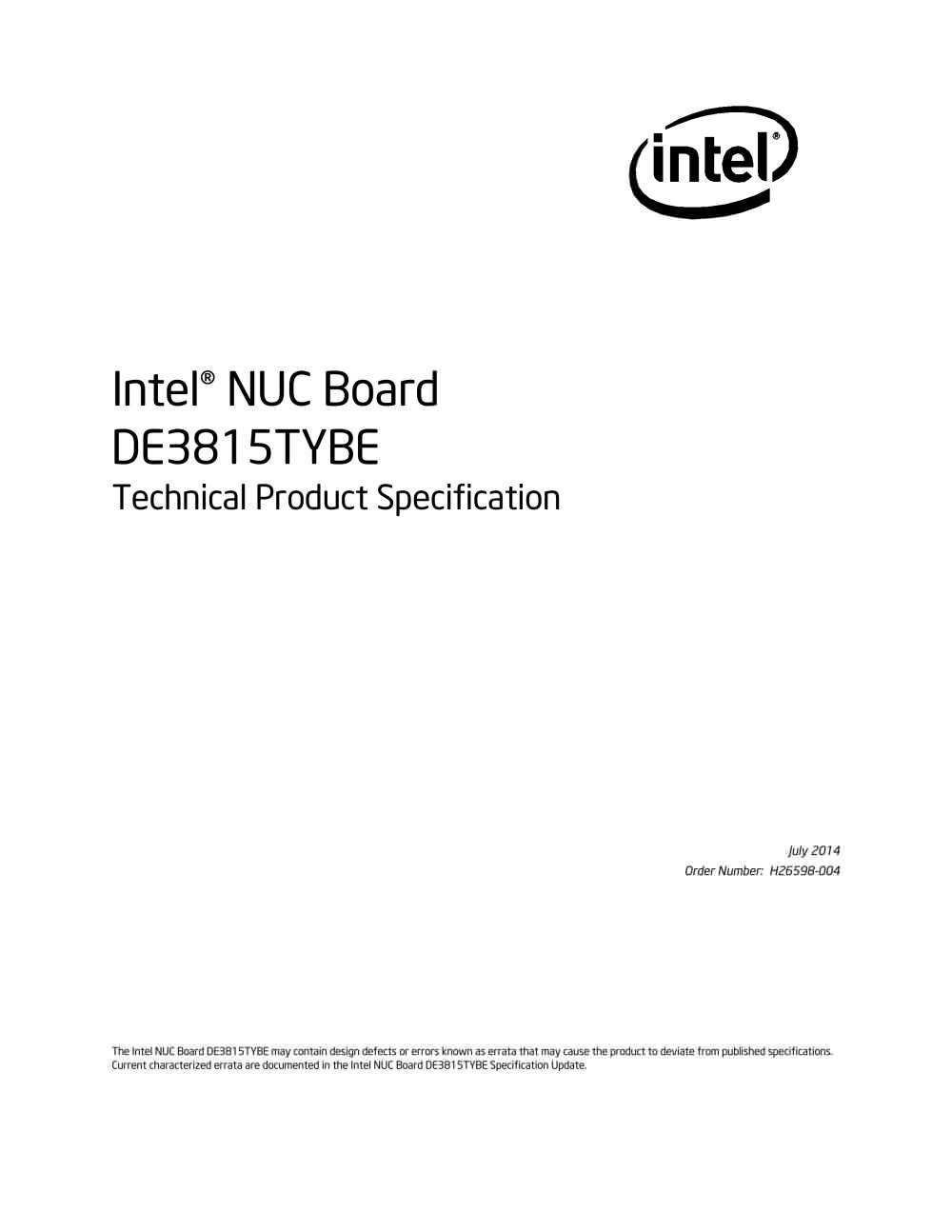 Intel Nuc Board De3815tybe Pdf Catalogue Technical Pentium 3 Block Diagram 1 82 Pages