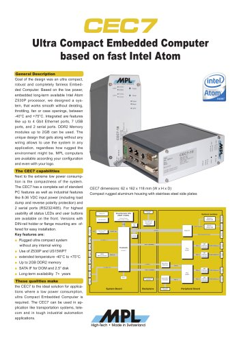CEC7 Ultra Compact Embedded Computer based on fast Intel Atom