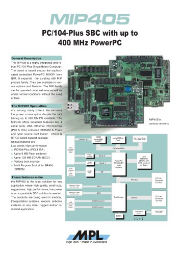 PC/104-Plus SBC with up to 400 MHz PowerPC
