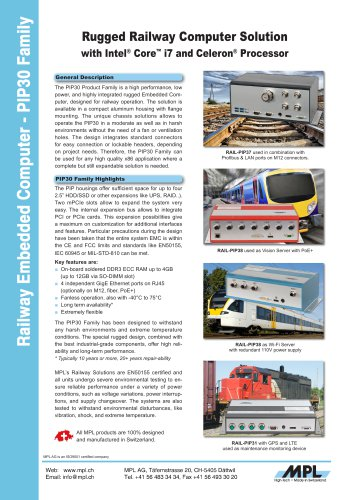 RAIL-PIP30 Rugged Railway Computer Solution with Intel Core i7 and Celeron Processor