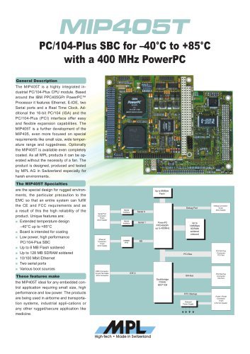 Robust PC/104-Plus PowerPC CPU board for extended temperature