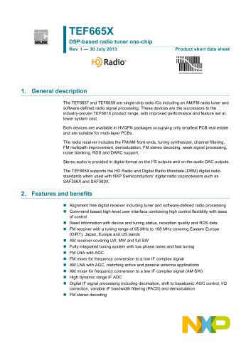 DSP-based radio tuner one-chip   TEF665X_SDS