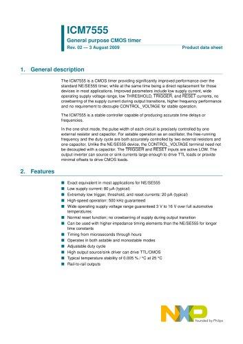 ICM7555 General purpose CMOS timer