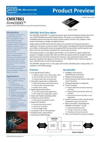 CMX7861 Programmable Baseband Interface