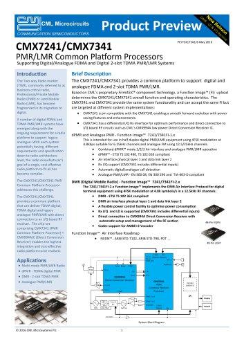 PMR/LMR Common Platform Processors CMX7241 and CMX7341
