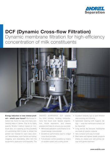 DCF crossflow filter for dairy