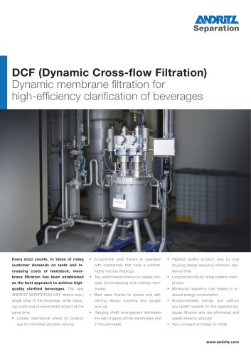 DCF (Dynamic Cross-flow Filtration)  Dynamic membrane filtration for  high-efficiency clarification of beverages