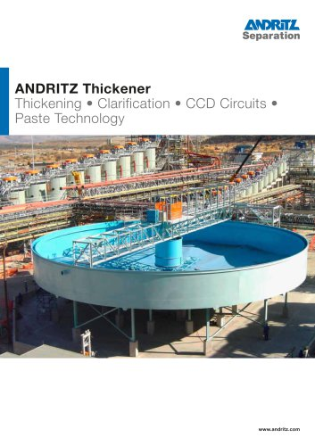 Thickening, clarification, CCD Circuits, paste technology