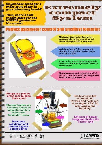 Extremely compact fermentor-bioreactor system LAMBDA MINIFOR