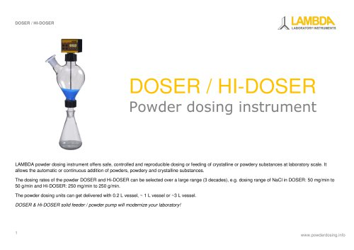 LAMBDA DOSER powder dosing instrument - Leaflet