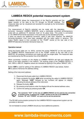 LAMBDA REDOX potential measurement for MINIFOR laboratory fermenter-bioreactor