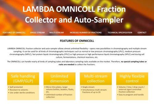 OMNICOLL fraction collector and sampler leaflet