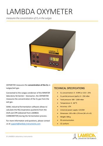 OXYMETER, O2 concentration measurement (0 - 9.99% or 10.0 - 25%) in outgas/exit gas