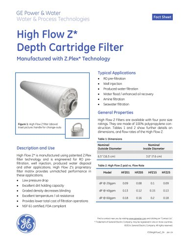 High Flow Z Depth Cartridge Filter