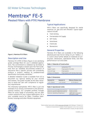 Memtrex FE-S Pleated Filters