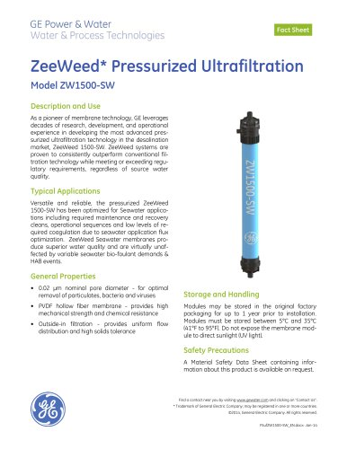 ZeeWeed Pressurized Ultrafiltration -- Model ZW1500-SW