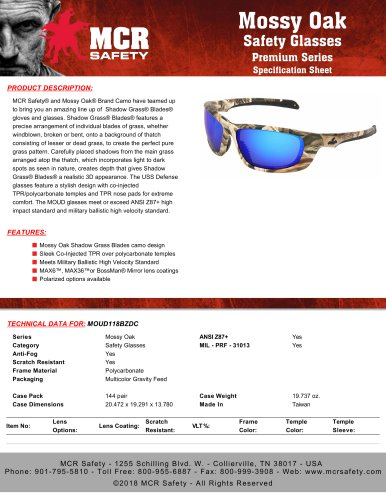 USS Defense Safety Glasses with Clear Lens Blue Frame