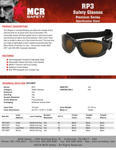 RP3 Safety Glasses Premium Series