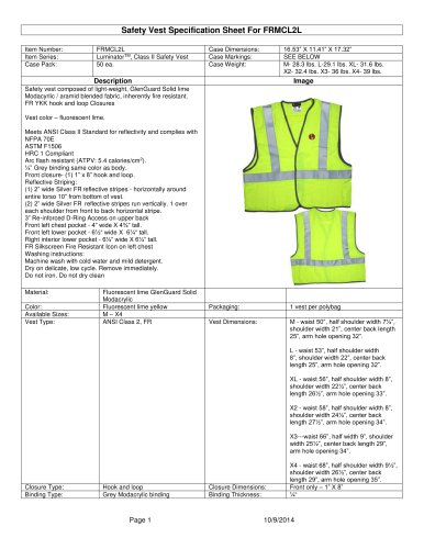 Safety Vest Specification Sheet For FRMCL2L