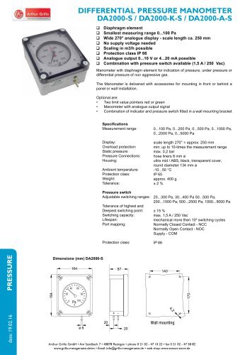 DA2000-S, DA2000-A-S, DA2000-K-S - differential pressure manometer