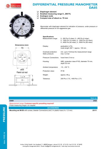 DA85 - differential pressure manometer