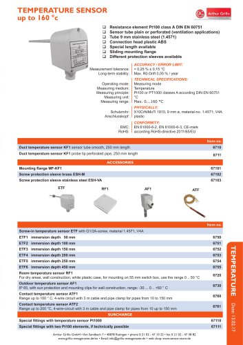 data sheet contact temperature sensor