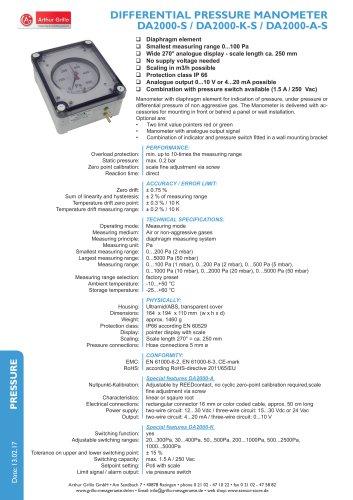 data sheet DA2000-S
