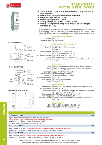 data sheet WT225, VT225, WF225