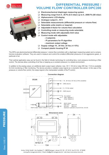 Differential pressure / Volume flow controller DPC200