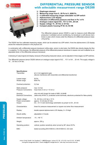 DS200 - differential pressure sensor with selctable measurement range