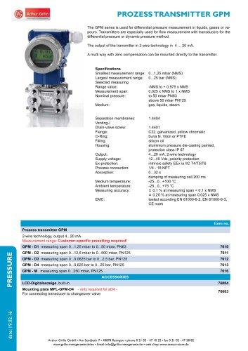 GPM - prozess transmitter