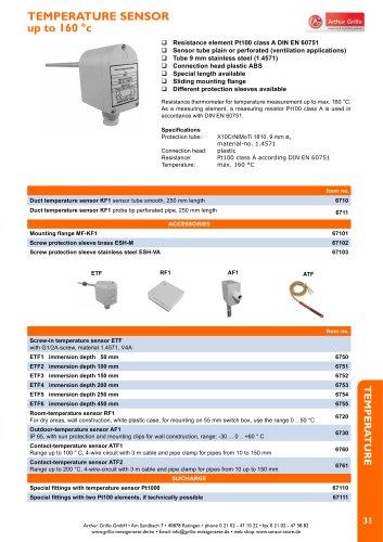 KF1, ETF1 … ETF6, AF1, ATF - temperature sensor