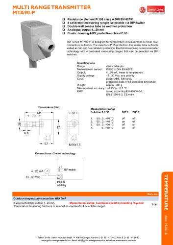 MTA90-P - multi range transmitter